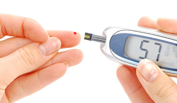 A blood glucose test